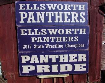 Primitive High School Sign - ELLSWORTH Panthers, Ellsworth, Wisconsin