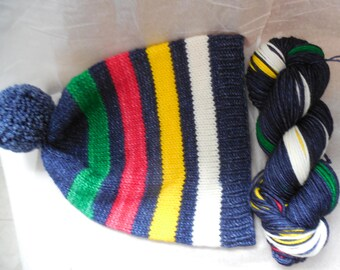 Self Striping Yarn, Hand Dyed - Canadian Midnight (HBC Inspired)