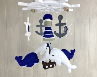 Baby mobile - nautical mobile - whale mobile - narwhal mobile - anchor, ship wheel, lighthouse and ship - crib mobile - ocean mobile - nurse