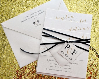 Astoria Wedding Invitation Suite with Ribbon Tie and Monogram Tag - Champagne Gold, Black, Ivory (colors/text customizable)