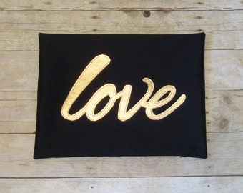 Love Pillow / cover / Metallic Gold / Lumbar pillow / fits 12 x 16 / wedding gift / gold pillow / Metallic love / Pillow with words