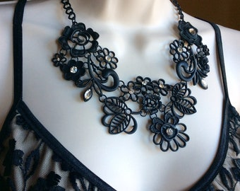 Bib necklace, black necklace, floral necklace, Victorian necklace