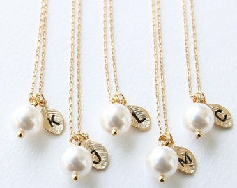 Bridesmaid Gift, Set of 3, 4, 5, 6, 7, 8, 9 - Initial Gold Leaf Necklace, Swarovski Pearl Pendant Necklace, Personalized Necklace, Wedding