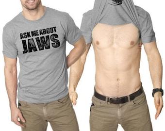 Shark Shirt, Jaws Flip Shirt, Ask me about Jaws, Funny Flip T Shirt, Mens Shark Tee, Shark Gifts, Sea Fish Clothes, Funny Shirts Men