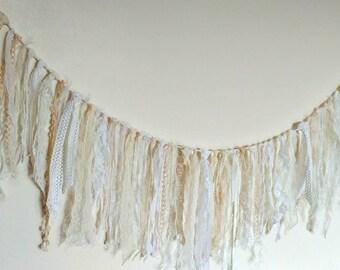 2m Vintage cream ivory white shabby chic lace ribbon bunting garland veil nursery wedding baby boho gypsy bespoke photo backdrop bridal tipi