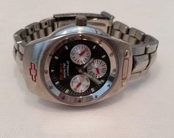 Vintage Chevrolet Man's Sports Watch. Team Monte Carlo Chevrolet Silver Watch. Memorabilia Watch. NASCAR Racing Monte Carlo. Wrist Watch