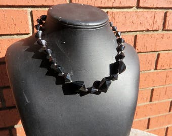 Vintage Trifari Signed Black Lucite Fabulous Retro 1950's Style Necklace Jewelry (SKU: N2)