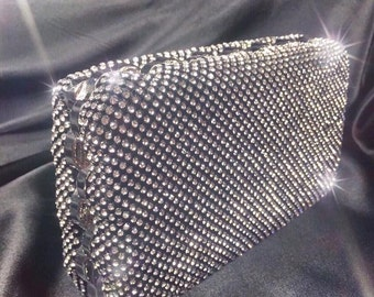 Black Crystal Clutch, Black Crystal Evening Bag,Clutch,Black Wedding Clutch,Crystal Purse,Minaudiere,Gifts for Her,Black Crystal Minaudiere