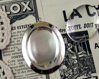 Silver Pendant Setting & Magnifying Cabochon Set - 40mm by 30mm - DIY     (DR-032)