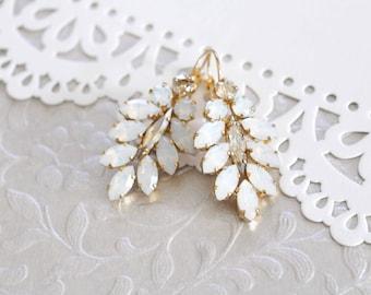 Crystal Bridal earrings, Bridal jewelry, White opal earrings, Swarovski earrings, Statement earrings, Gold earrings, Chandelier earrings