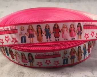Character Ribbon - 7/8 inch Grosgrain Ribbon featuring American Girl Dolls with a pink border - Craft Supply - DIY Crafts, Scrapbook, Bows
