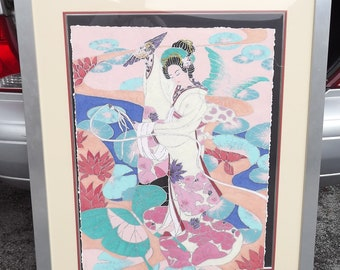 Beautiful Large Framed Mixed Media Picture of Japanese Woman local pickup only Ft. Lauderdale