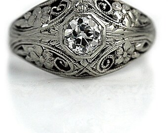 Art Deco Ring Vintage Diamond Ring Platinum Wedding Ring Filigree 1920s Ring