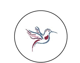Hummingbird Cross Stitch Pattern, Bird Cross-Stitch PDF File, Instant Download