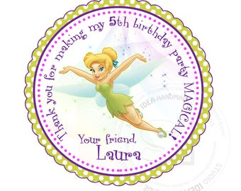 "Custom Stickers- Tinkerbell Thank you Birthday 2.5"" STICKERS-Purple-Green -Pink Tinkerbell Thank you 2.5"" Stickers"