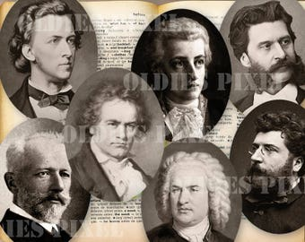 24 Classical Music Composers Collection Digital Collage Sheet 40mm & 30mm Oval Circle images Instant Download for Glass Pendants Oe93