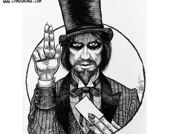 Halloween Saints: Mr. Dark Original Ink Art by Chad Savage
