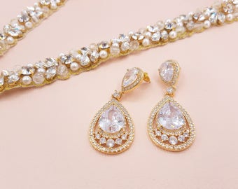 Bridal Drop Earrings, Pear Cubic Zirconia, dangle earrings, bridal gold earrings, wedding earrings, bridal earrings, crystal drop, RAINA