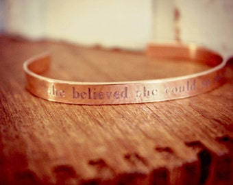 Graduation Gift | She Believed She Could So She Did | Inspirational | Cuff Bracelet | Graduation Jewelry | Custom Jewelry Sterling Silver