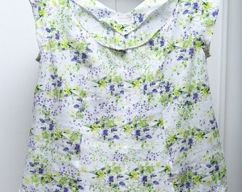 Linen L/XL Floral Capped Sleeve Woman's Top
