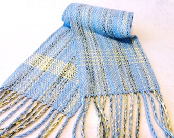 Handwoven Bamboo Scarf, Blue Scarf, Woven Scarf,  Blue Bamboo Scarf, Bamboo Scarf, Woven Bamboo Scarf - Sand and Sea Blue (#11-08)