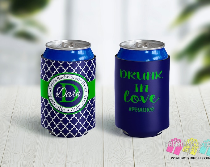 Drunk In Love Bachelorette Can Coolers - Bachelor Can Coolers - Monogrammed Can Coolers - Personalized Can Coolies - Bachelor Can Coolers