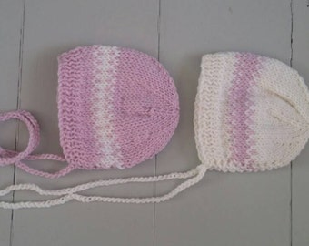 Baby girl stripes bonnet in white and pink/ knit striped hat for newborn/ photo prop for twins