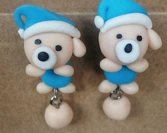 Bear small dangling earrings