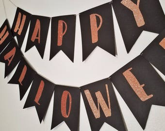 Happy Halloween Banner | Copper Sparkle & Black Banner | Fall Banner | Halloween Party Decor