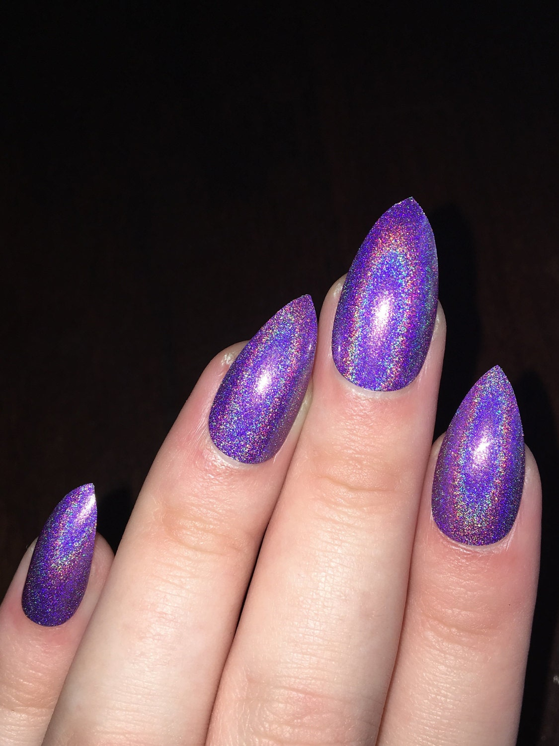fake nails, press on nails, stiletto nails, holographic, holographic ...