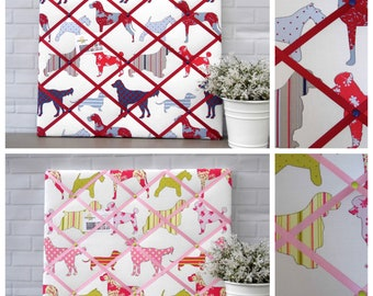 Dog memo board, fabric noticeboard, memory, french, bulletin board, dog print, Ashley Wilde Holyfield fabric, 40 x 50 cm