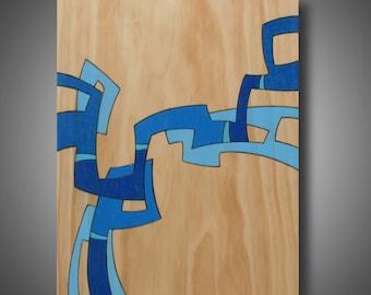 "Original Abstract Modern Art - Contemporary Design - Pyrography on Pin - Prismacolor Pencils - 11.25"" x 14"" Home Decor ""Sky Sounds"""