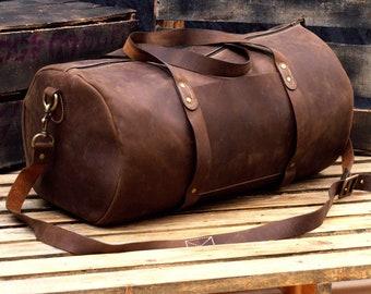 47091be386 Overnight Leather Duffel - Handmade Weekender Bag - Leather Duffle Travel  Bag - Chestnut Brown Travel Shoulder Bag - Weekend Luggage Bag