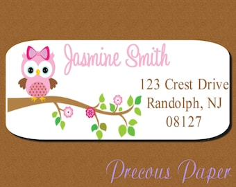60 Owl return address labels Personalized PRINTED  owl stickers  owl favor stickers owl address labels