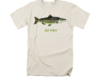Fishing T-shirt, Digital Fish Art Design, Uni-Sex T-Shirt, Typography Salmon Art, Aquatic Outdoor Sports, Fisherman Gift, Green Fish Art