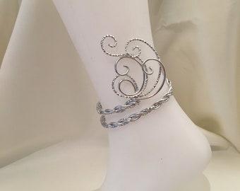 Ankle bracelet in Silver Aluminum wire