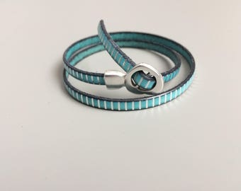 Turquoise and Silver Buckle Leather Bracelet - Turquoise Leather Heart Buckle Clasp - Adjustable Leather Bracelet - Blue Striped Bracelet