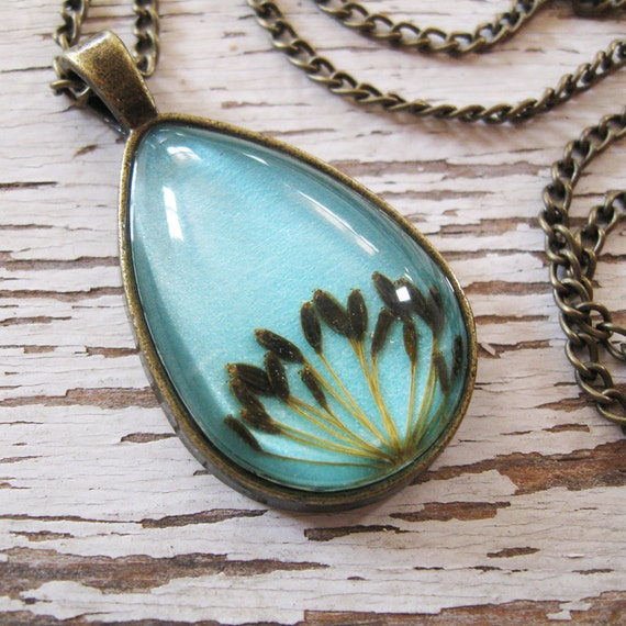 Real Seed Necklace - Herbal Jewelry - Dill Seeds Botanical Teardrop Necklace
