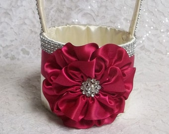 Fuchsia & Ivory Flower Girl Basket with Rhinestone Mesh handle and Trim, Lots of Bling, Custom Made to Order