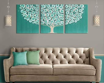 Living Room Wall Art Teal Extra Large Original Acrylic Painting Of Tree On  Canvas Triptych