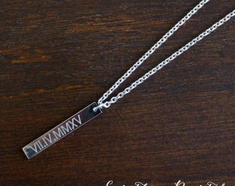 Dainty Roman Numeral Necklace, Dainty Personalized Gold Bar Silver Bar Necklace, Engraved Long Charm, Bridesmaid Gift