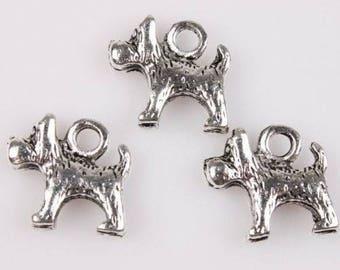 set of 5 Silver dog charm 15 x 12 mm