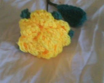 Crocheted yellow rose