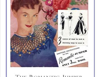 1950  Romantic Jumper 3 Ways Neckline ladies Vintage Knitting Pattern PDF Instant download