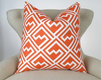 Tangerine Orange Pillow Cover -MANY SIZES- Tangelo Shakes geometric white cushion cover throw sham Premier Prints decorator FREESHIP