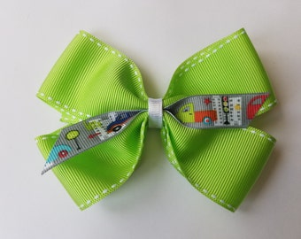 Handmade Lime Green Traffic Scene Bow