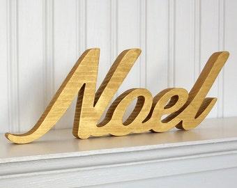 Gold Noel Letter Sign, Elegant Christmas Decoration, Mantle Decoration, Holiday Decoration, Wood Noel Sign
