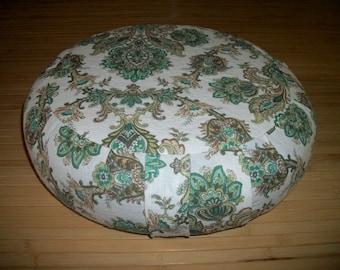 "Zafu Meditation Cushion. Floor/Dorm Pillow. repurposed Green Cotton Print. Buckwheat Hulls.  15x5. 6""Sidewall Velcro Closure. Handmade, USA"