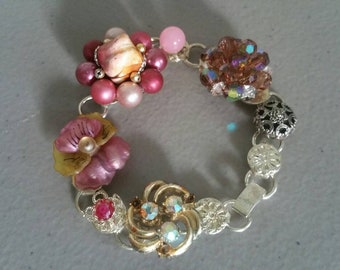 Earring Bracelet Made From Found Bits And Pieces ~ Vintage Jewelry ~  Unique Gifts ~ Wedding, Brides Maid, Graduation Gifts