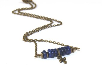 Tiny Lapis Beaded Bar Necklace in Brass with Tiny Cross